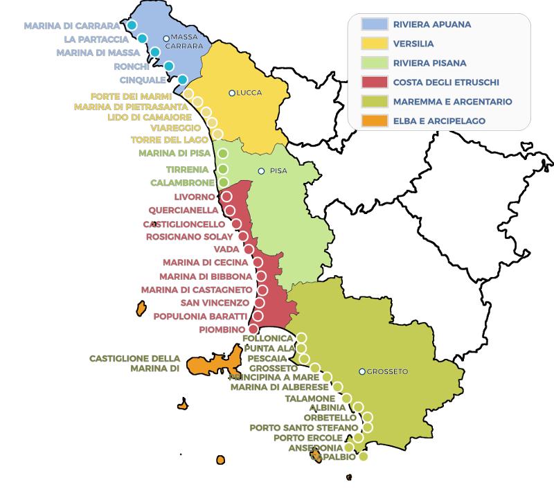 Cartina Della Toscana Con Tutti I Comuni.Toscana Mare Cartina Spiagge Mare Della Toscana