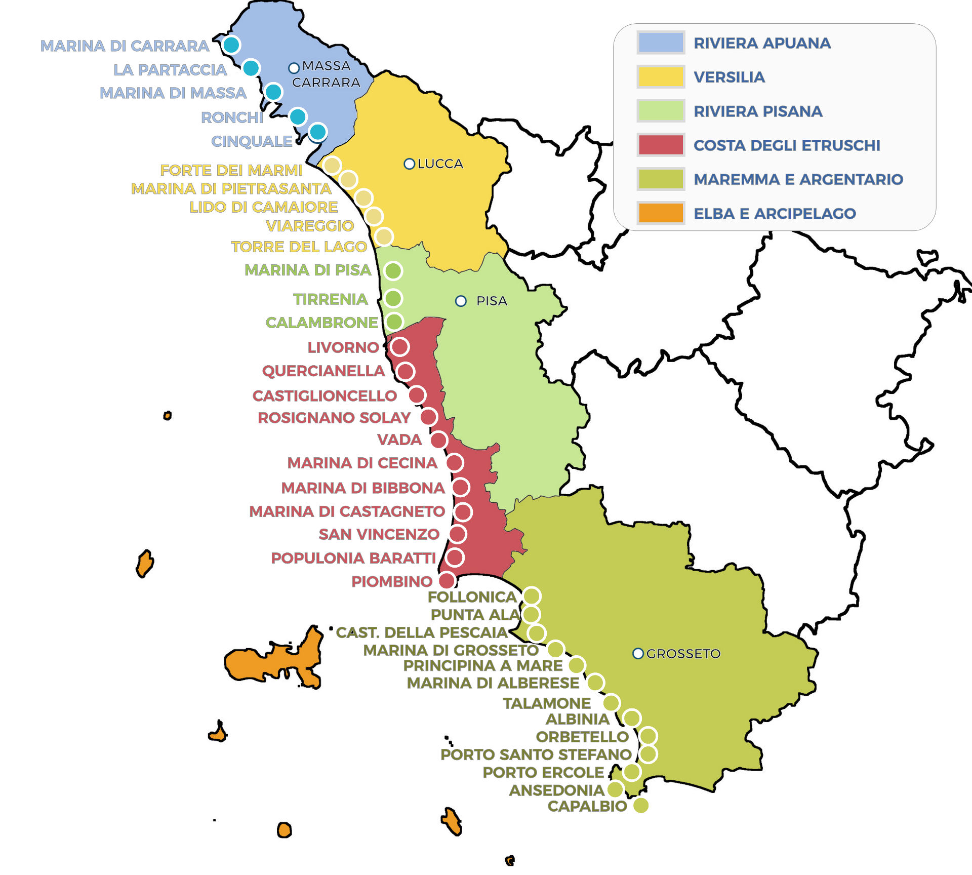 Cartina Toscana Dettagliata.Toscana Mare Cartina Spiagge Mare Della Toscana
